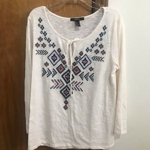 Cream tribal long sleeve top